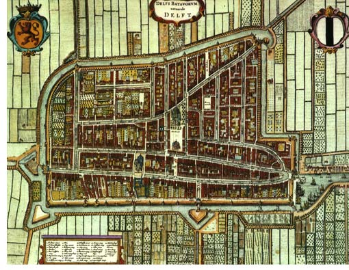 Old city map of Delft
