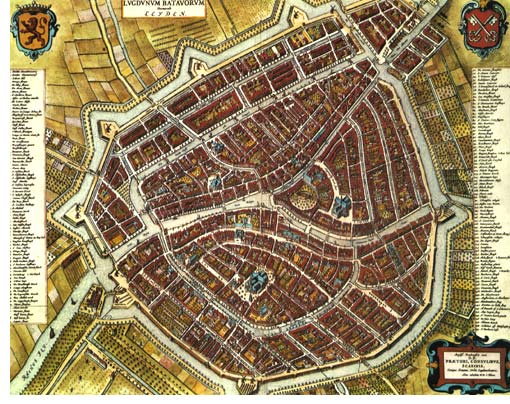 Old city map of Leiden